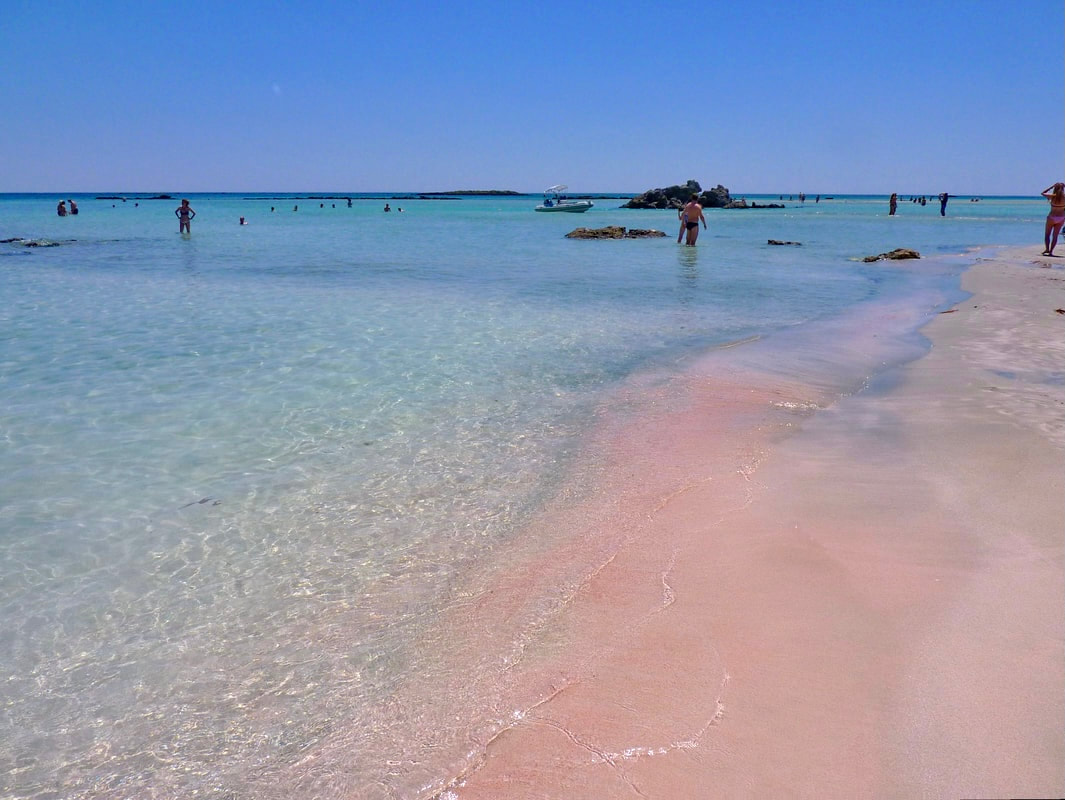 Elafonissi beach with pink coral in the sand